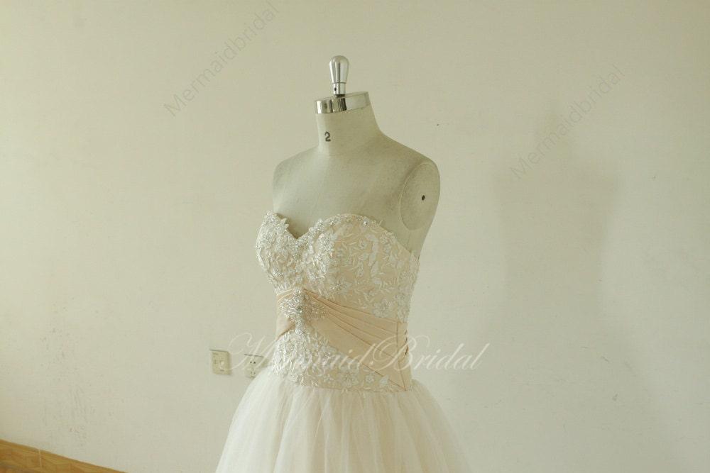 Romantic blush A line Simple Wedding dresses lace Wedding gowns, blush wedding dress, prom gowns with demi cup