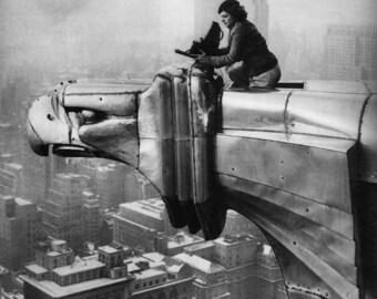 Margaret Bourke-- Photographer on the Chrysler Building- NYC- (1934)  Photo Print