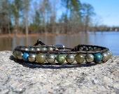 Men's Leather Wrap Bracelet - Chrysocolla, Pyrite, Labradorite