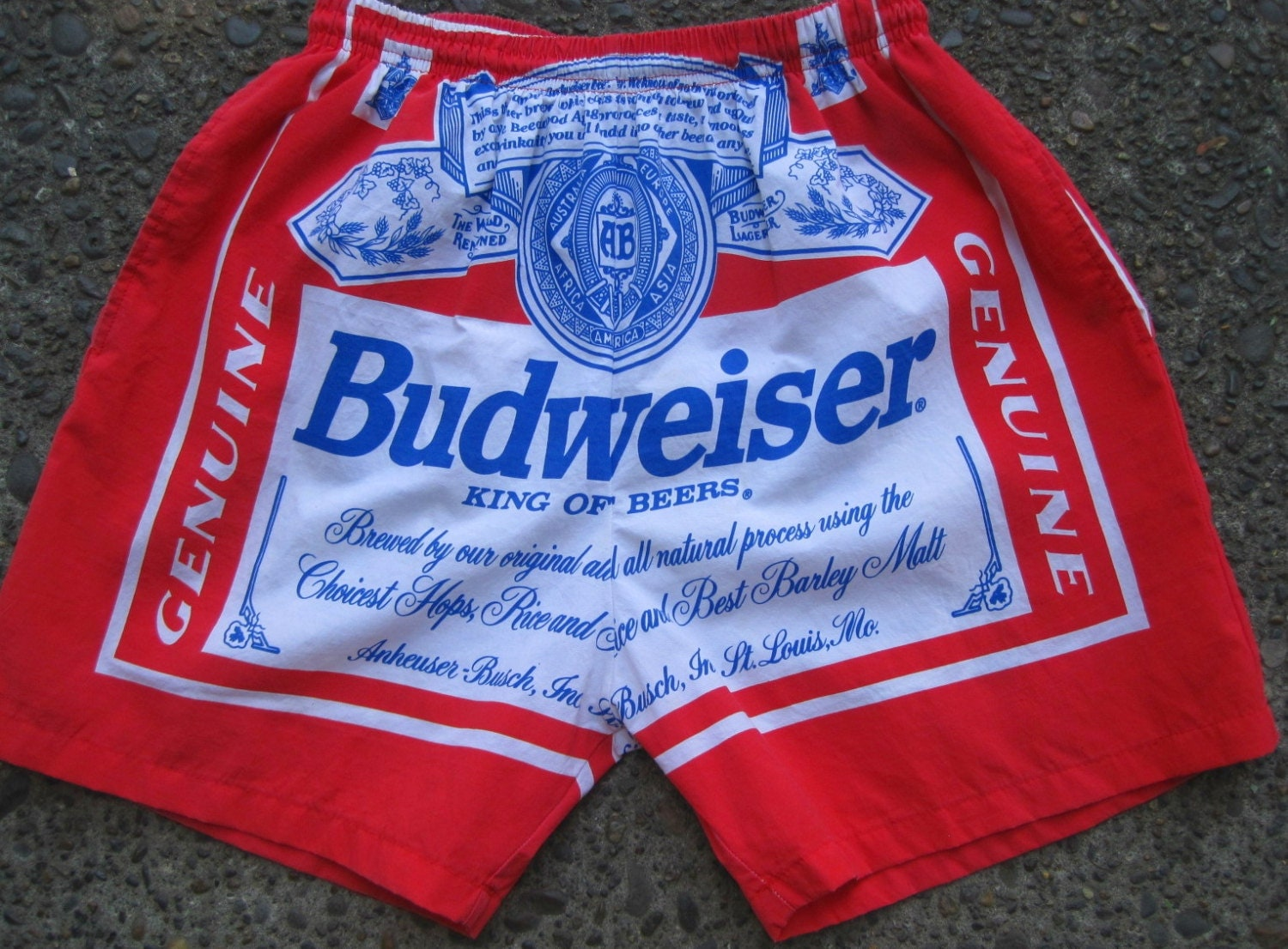 Vintage Red White And Blue 1980s Budweiser Swim Trunks