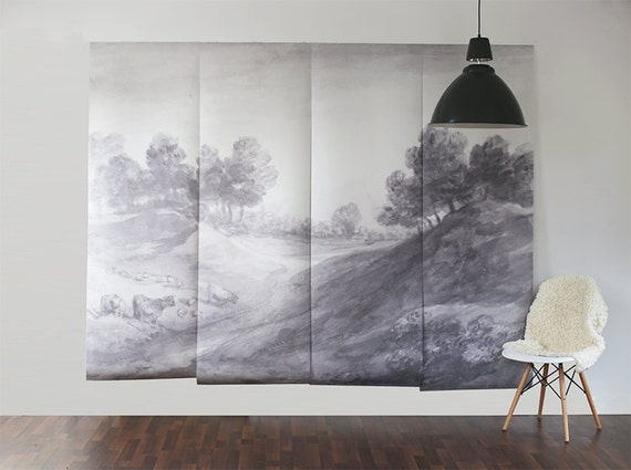 shaded landscape wall mural wallpaper scenic mural. Black Bedroom Furniture Sets. Home Design Ideas