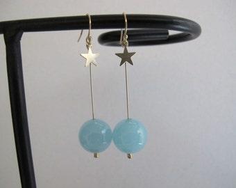 Blue Chalcedony Long Dangle Earrings