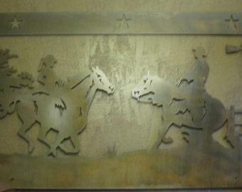3' Western cowgirl cowboy scene metal wall art