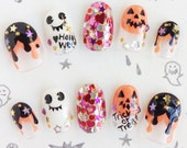 Halloween Heart Nail Tips Japanese kawaii nail art