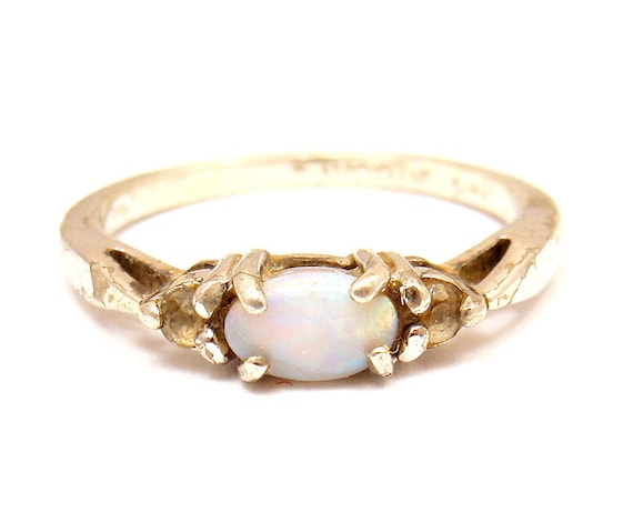 Estate Vintage Sterling Silver Avon Cz Opal Cocktail Ring Sz 7