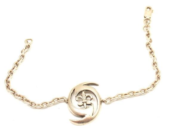sterling silver fleur de lis bracelet by shoplucky on etsy