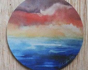Ocean Sunset Mouse Pad Original Watercolor Pastel