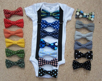 Baby Boy Suspender Outfit and your choice of 1 removable POLKA DOT bow tie (see additional photos for tie options)