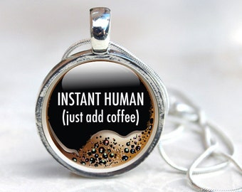 Coffee Necklace, Coffee Glass Pendant, Coffee Gifts, Coffee Pendant Necklace (coffee 5)