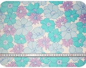 Floral retro vintage fabric - turquoise, blue, purple and white