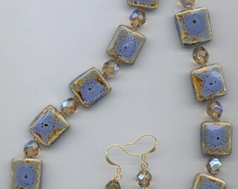 Necklace made with lovely periwinkle blue ceramic beads
