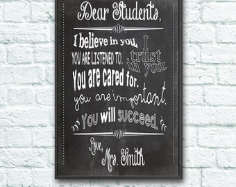 Dear Students - Teacher Chalkboard Classroom Poster - 11x14 inches - Black / Gray / White