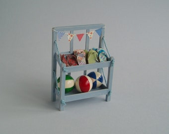 Flip-flop and Beach Ball Stand, 1:12 or 1/12 scale Dollhouse Miniature, Shabby Chic Blue with Bunting, for beach shop, kiosk or cafe