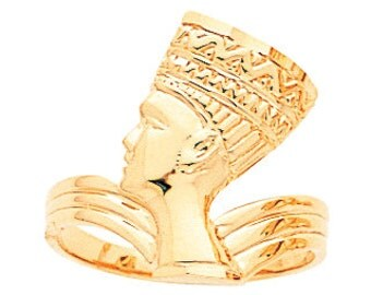 14k gold nefertiti ring, pharoah ring, gold ring.