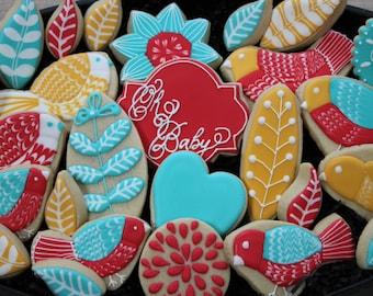 Baby Shower Cookie Favors, Mothers Day, Custom Cookies, Birthday, Thank You Cookies, Flowers, Birds, Sugar Cookies, Anniversary Cookies