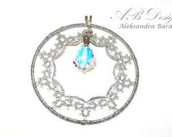SALE Silver Baroque - Handmade silver pedant tatting frivolite snow flake filigree with Swarovski crystal