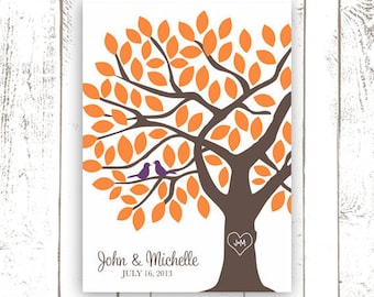 Guest Book Tree - Fall Wedding Guest Book Alternative for 75 Guests - Oak Tree Wedding Poster