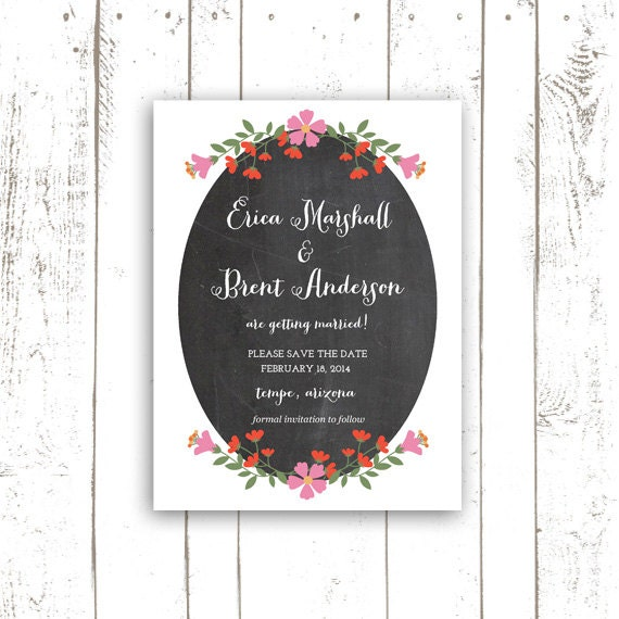 Save The Date, Chalkboard Save The Date Set, Flower Save The Date, Spring or Summer Wedding