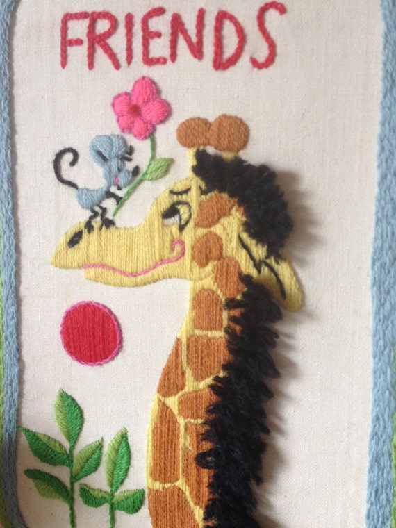 Giraffe and mouse embroidered child nursery by for Giraffe childcare fees