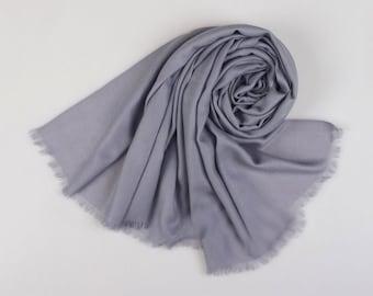 Large Wool Scarf - Gray Wool Scarf - Grey Wool Scarf - 80 Thread Count Wool Scarf - Solid Color Wool Scarf - BS201