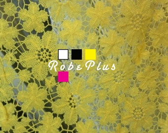 Embroidered Floral Lace with Asymmetric Hem - Floral Embroider Lace - White Lace - Pink Lace - Yellow Lace - Black Lace - 23