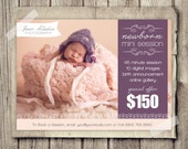 Newborn Photography Template - Marketing Baby Newborn Mini Session Template - Newborn Baby Photo INSTANT DOWNLOAD