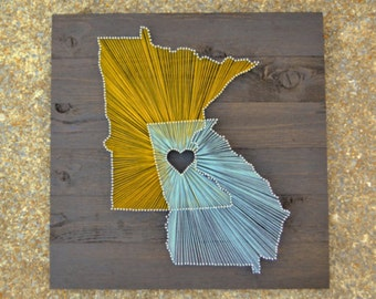 """Two State String Art on 21""""x21"""" Stained Wood- Customizable String Art"""