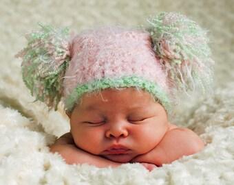 Baby Crochet PomPom Hat Newborn/Baby Photo Prop