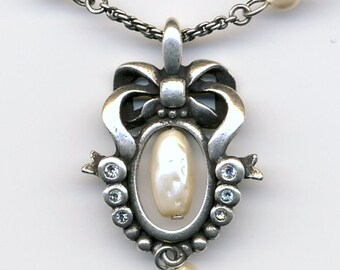 Signed Christian Dior Necklace Gunmetal with Pearl & Crystal Pendant  - Dior Logo