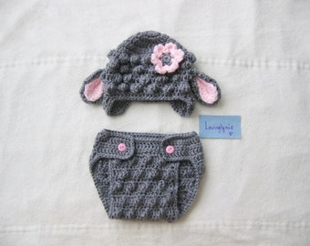 Baby sheep baby hat and diaper cover set / sheep hat / diaper cover / photoprop