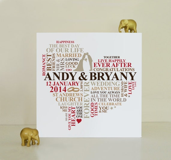 Canvas Wedding gift. Personalised Word Art. Marriage present. Wedding ...