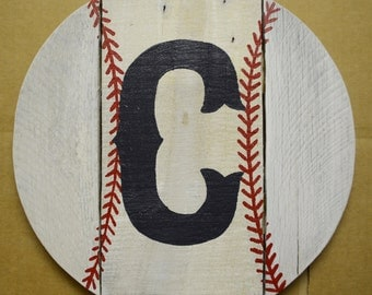 "Reclaimed Pallet Baseball/Softball (12"") Wall hanger customized with your choice of Initial, Name or Number."