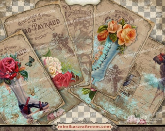 ROMANTIC ACEO cards, Gift Cards, Digital Collage Sheet paper printable, ATC Printable Cards Trade Cards, Gift Tag  -Instant Download