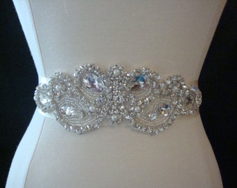Bridal Sash - Wedding Dress Sash Belt - Crystal Rhinestone and Pearl Wedding Sash - Ivory Rhinestone Bridal Sash