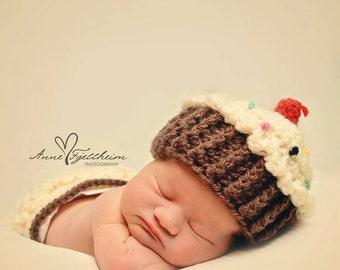 Newborn Cupcake Hat, Newborn Photo Prop, Crochet Cupcake Hat, Crochet Hat