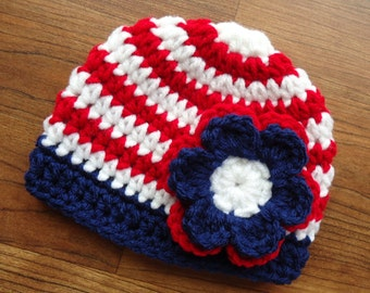 Crocheted Baby Fourth of July Hat, Red & White Stripes with Navy Blue Trim and a Red, White, Navy Blue Flower, Newborn to 5T - MADE TO ORDER