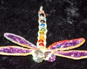 Rainbow Hemp Beaded Dragonfly Barrette; Handpainted Enamel & Resin Wings; Faceted Fire Polished Eyes; Spring Clip Barrett; One of a Kind