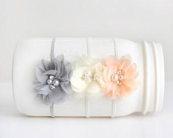 Chiffon Flower Headband, Grey Headband, Ivory Headband, Flower Headband, Photography Prop, Headband, Newborn Headband, Baby Headband