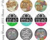 Embark in the Service of God - Variety - Young Womens Theme 2015  - 4x6 Digital Collage Sheet - 1 inch Round Circles - INSTANT DOWNLOAD
