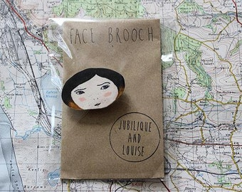 SALE- Hand Drawn Plastic Face Brooch- Dip Dye/ Ombre Hair. Quirky Unique Gift! NOW 3 POUNDS!