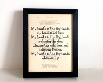 Robert Burns 'My heart's in the Highlands' Vintage Print