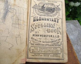 Antique Elementary Spelling Book - 1880 School Book by Noah Webster