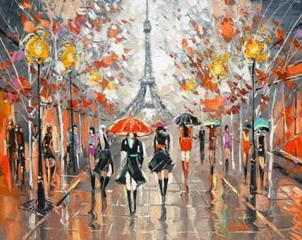 Evening Boulevard. painting by Dmitry Spiros. eiffel tower painting, paris wall art, paris wall decor, paris decor, paris art.
