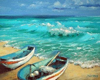 """Caribbean Noon  — PALETTE KNIFE Oil Painting On Canvas By by Dmitry Spiros. Size: 24"""" x 32""""  (60 x 80 cm)"""