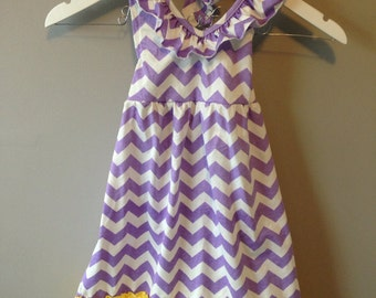 Adorable Girls Purple Chevron Halter Ruffle Summer Dress! Available in sizes 4T-10Y