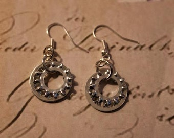 Upcycled Industrial Hardware Silver Lock Washer Earrings