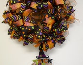 ON SALE- XL Halloween Ribbon Wreath complete with Trick or Treat sign