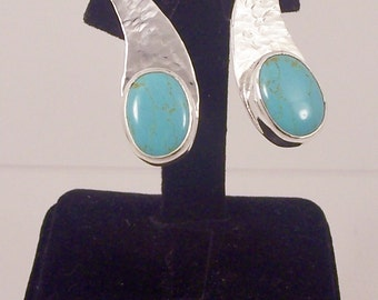 Drop Turquoise  Earrings handmade  with sterling silver and blue gemstone, handcrafted Stud, December birthstone