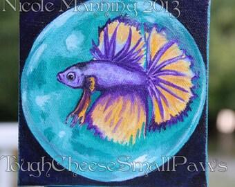 Unexpected Surprise -Betta fish painting ORIGINAL