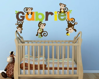Monkey Decal- Name Decal - Wall Decal -Baby Name Decal - Jungle Wall Decal-  Girl Decal - Boy Decal - Nursery Wall Decal - Wall Decals